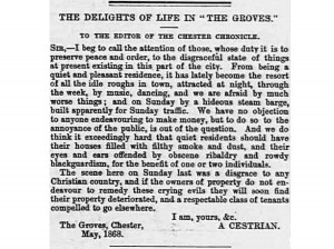 Chester Chronicle article from 1868